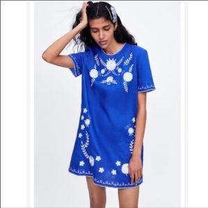 Zara Embroidered Mini Linen Shift Dress NWT